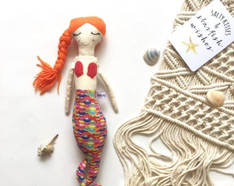 Orange Hair Mermaid Doll// Handmade Doll// Fabric Doll// Cloth Doll// Rag Doll// Mini Mermaid Doll// Mermaid Toy// Keepsake Doll