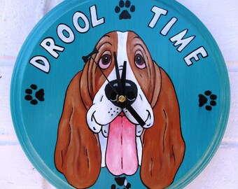 "Made-to-Order Basset Hound Clock - ""Drool Time"""