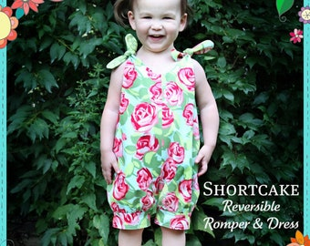 The Cottage Mama Girls Paper Sewing Pattern Shortcake Reversible Romper and Dress 6 months-6 years