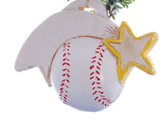 Personalized baseball Christmas ornament with yellow team color star - personalized with name, team name, number and or year (s45)