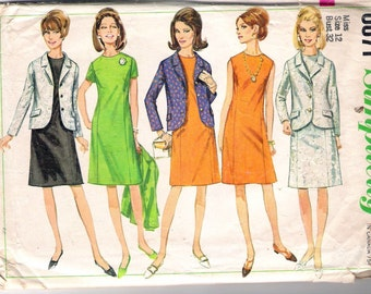 "Vintage 1968 Simplicity 6871 Dress & Jacket Sewing Pattern Size 12 Bust 32"""