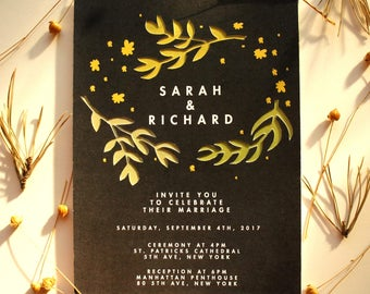Wedding Invitation With Matching RSVP - Green Flowers Blooming - PAPER CUT