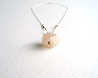 ON SALE. Facet - a Minimal Faceted Nugget Gemstone Necklace in Rose Quartz and Sterling Silver - by Kirsty O'Donnell
