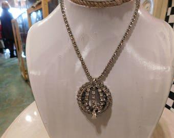 Vintage rhinestone  Necklace 1950-60's / old Hollywood / Glamour/