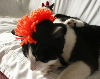 CAT HAT Black & Orange Mohawk -  ANY Color Made to Order