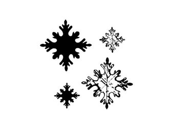 SNOW FLAKE set of 4 winter rubber stamps Christmas, holiday, distressed and bold snow flakes, snowflake, Sweet Grass Stamps No.19