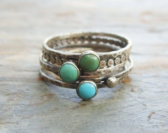Tricolor Turquoise Stacking Rings in Antiqued Sterling Silver - Set of 5 Natural Stone Stacking Bands - Kingman Arizona Turquoise