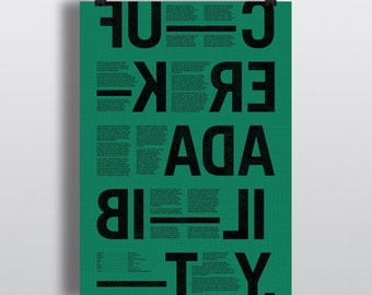 F-ck Readability poster green — typography print / typographic print / typographic poster / typographic wall art / swear word / word prints