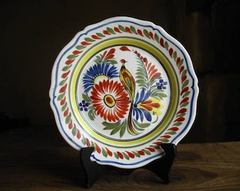 Quimper Plate with Bird of Paradise, Hand Painted, French, 1950s.  (3)