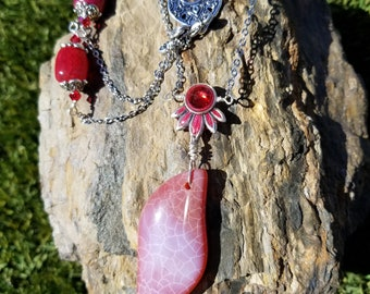 Summer Flower / agates / one of a kind  / gift idea