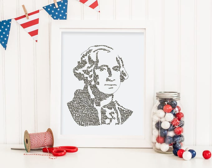 George Washington  - A Limited Edition Print of a Hand-lettered Image Using His Own Words of Wisdom to Form His Famous Bust