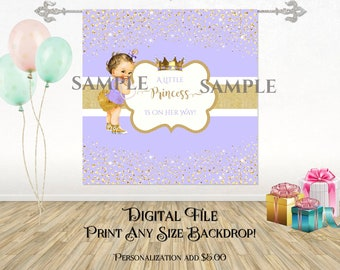 Lavender & Gold | Caucasian Royal Princess | Digital Backdrop Image