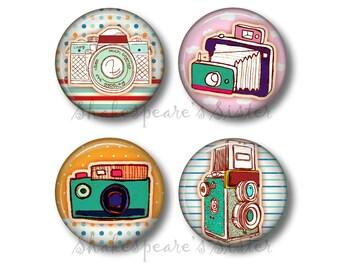 Retro Camera Magnets - Fridge Magnets - Camera Decor - 4 Magnets - 1.5 Inch Magnets - Kitchen Magnets