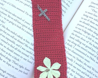 Crocheted Red Bookmark With Silver Christian Cross