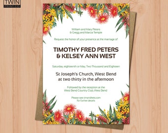 Flower Wedding Invitation, Wedding Invitation, Invitation, Printable Invitation, Digital Download, Printable PDF