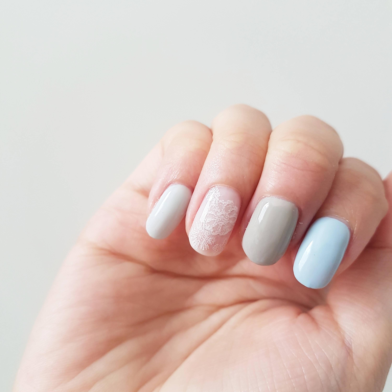 Einfache Pastell Spitze Nägel Kawaii Lolita Nägel drücken