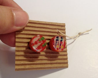Cute Stud Earrings - Red,Blue and Yellow - Wooden Earrings - Faux Plugs - Colorful Patterns