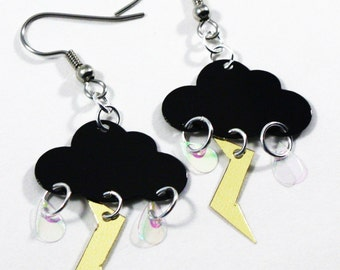 Black Stormy Cloud Earrings Raindrops & Lightning Bolts Dangle Plastic Sequin Jewelry