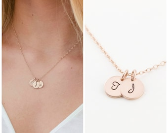 Personalized Initial Necklace, Tiny Rose Gold Disc, Mothers Necklace, Gift for Her, Monogram jewelry,Silver Disc Necklace