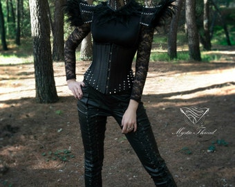 Black satin gothic punk underbust corset decorated with spikes