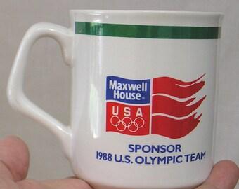 Vintage 1988 Calgary Olympic Team Maxwell House Coffee Mug / Collectible Olympics Ceramic Mug Calgary 88