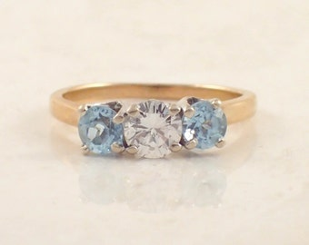 14K Yellow Gold Aquamarine and Diamond Ring, Engagement Ring, Vintage Ring, Estate Jewelry, April Birthstone, March Birthstone