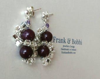 Purple Earrings, Purple Jade Earrings, Beaded Earrings, Jade Earrings, Silver Earrings, Silver Purple Earrings, Gemstone Earrings, Ladies