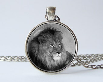 Lion necklace Birthday gift Lion pendant Animal necklace Grey necklace Animal pendant Lion jewelry Wild nature Animal jewelry Gift for him