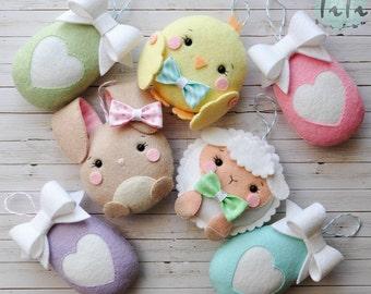Easter cute felt ornaments set of 7, Easter decor, easter ornaments, felt eggs , Easter decoration, Felt chicken, Felt rabbit, Easter lamb