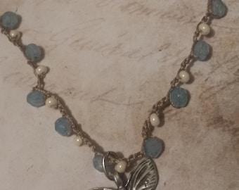 Beautiful butterfly crochet beaded necklace