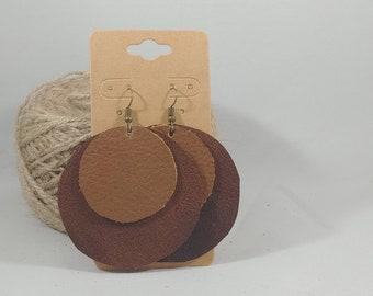 Handmade Leather Earrings - Large - Repurposed Materials