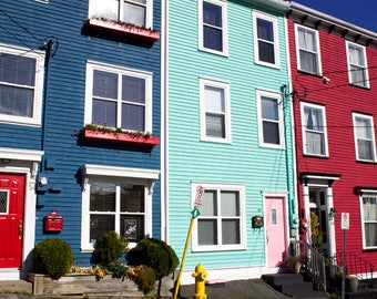 Jelly Bean Row, St. John's, Newfoundland Wall Art, Jellybean Row Art Prints, Downtown Houses, Row Houses, Colorful Wall Art, Happy Art
