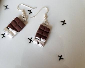 Chocolate bar dangle earrings, food earrings, clay food, polymer clay jewelry, women's jewelry