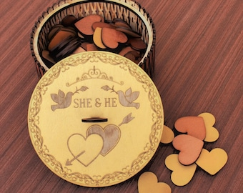 Wooden Box for Hearts Personalized Wooden Box Alternative Wedding Guest Book Wishes Box Bride Groom Wish Box Bridal Shower Wish Boxs
