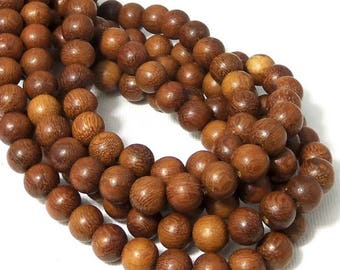 Madre de Cacao Wood, 8mm, Medium Brown, Round, Smooth, Small, Natural Wood Beads, 16 Inch Strand - ID 1648-MD
