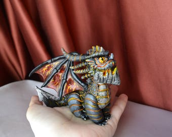 Deathwing figurine handmade from polymer clay Wow World of Warcraft Dragon