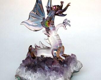 Dragon Prehistoric Figurine Hand Blown Glass Amethyst