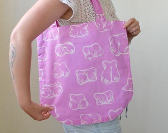Handmade and illustrated fabric tote bag- BOOBIES