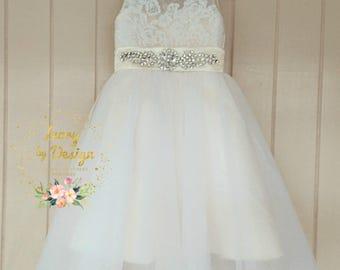 Sweet Cream Ivory White Tulle Flower Girl Dress lace Bodice Sleeveless Princess Party Dress Knee Length Tea Length Floor length fully custom
