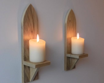 Pair of wall sconces candle holders reclaimed wood Gothic church rustic style handmade wall mounted natural beeswax finish