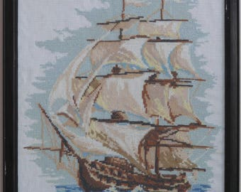 Sailing ship cross stitch embroidered framed picture painting