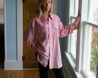 Vintage Western manches longues chemise rose à rayure Extra Long Large XL