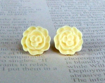 Yellow Flat Rose Studs