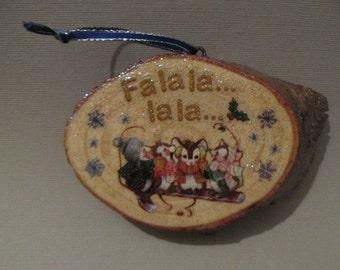 Handmade Decoupaged Rustic Wood Christmas Ornament/Wall Plaque