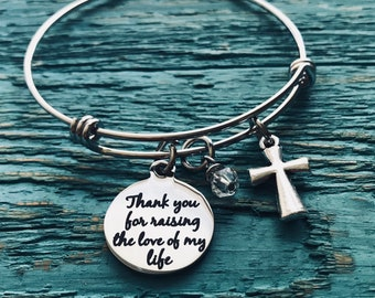 Thank you, for raising the love of my life, Mother of the Bride, Mother of the Groom, Silver Bracelet, Charm Bracelet, Wedding Jewelry, Gift