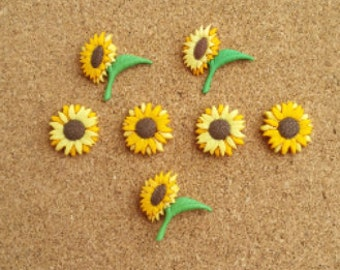 Sun Flower Push Pins or Magnets