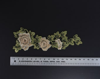 3d Yellow gold flower branch lightly beaded