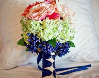 Custom Order Nautical Coral Navy Ivory Blush Pink Bridal Bouquet