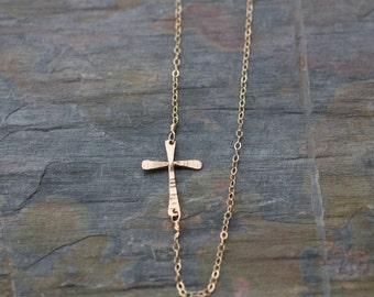 Gold sideways cross necklace gold cross necklace, Dainty gold necklace simple gold necklace, Bridesmaid gift sideways cross, N172