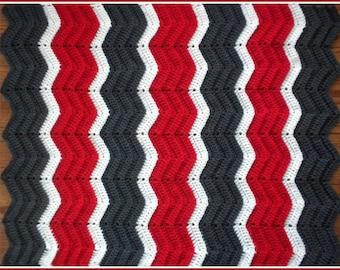 Handmade Crochet Cherry Red, Charcoal Grey and White Baby Blanket